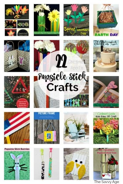 Collage of popsicle stick crafts