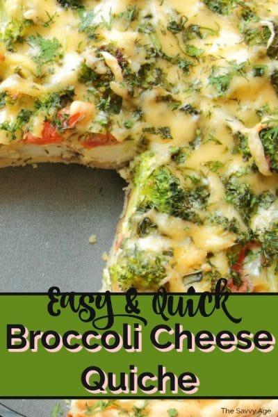 plate of broccoli cheese quiche