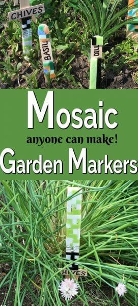 Green, black, white mosaic tile garden markers.