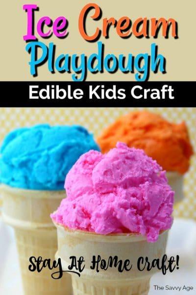 Three ice cream cones with blue, orange, pink ice cream made of playdoh.