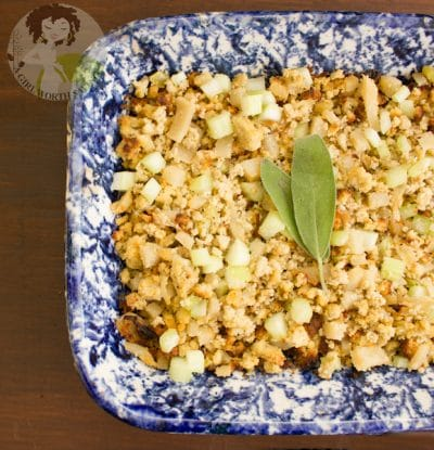 stuffing in a blue pan