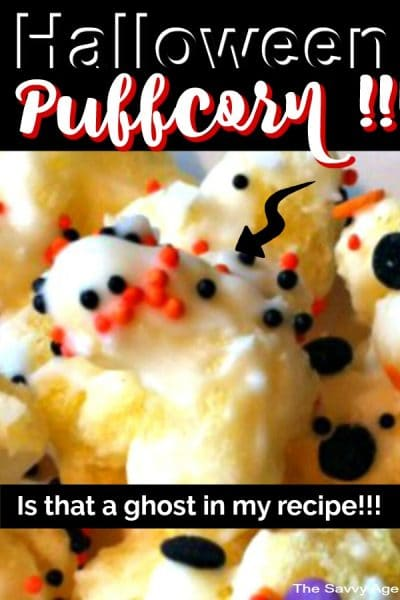 Halloween decorated puffcorn, puffcorn with white chocolate and Halloween orange, black, purple sprinkles