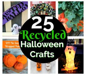 Collage of Halloween crafts made from recycled materials such as plastic bottles, mason jars and fabric.