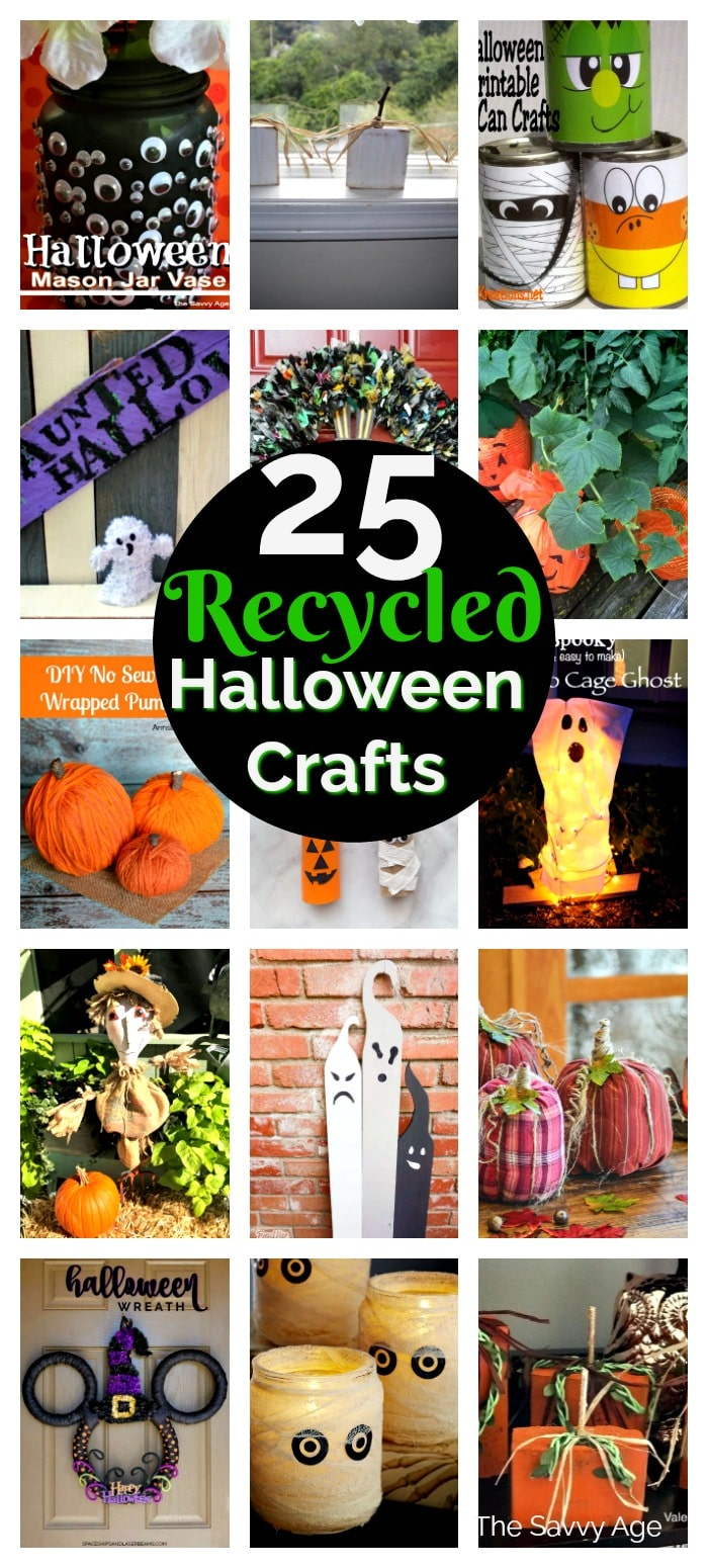 Collage of Halloween crafts made from recycled materials: bottles, plastic bags, wood and styrofoam.