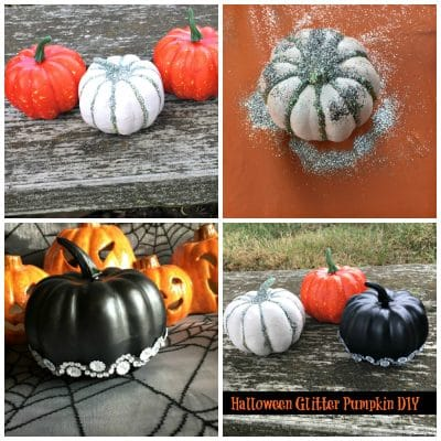 Collage of mini pumpkins paainted with glitter and sparkles.