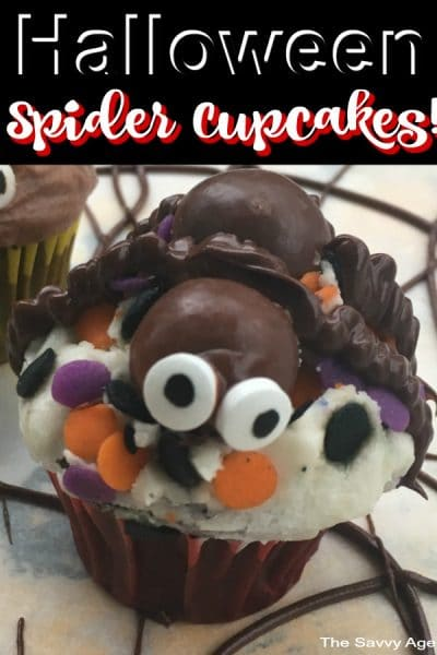 Spider made of malted milk balls on top of cupcake.