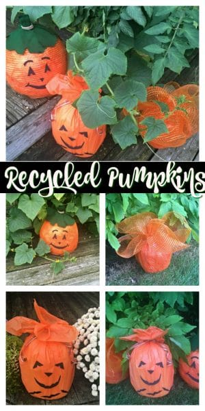Collage of pumpkins made from recycled bottles.