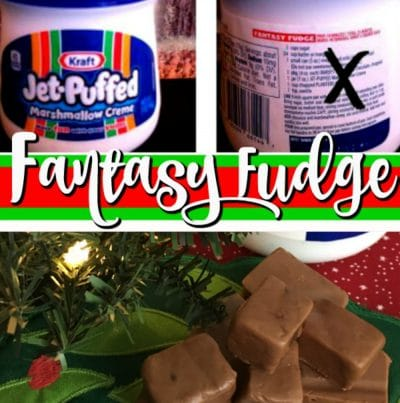 Marshmallow creme jar and fudge squares by a Christmas tree.
