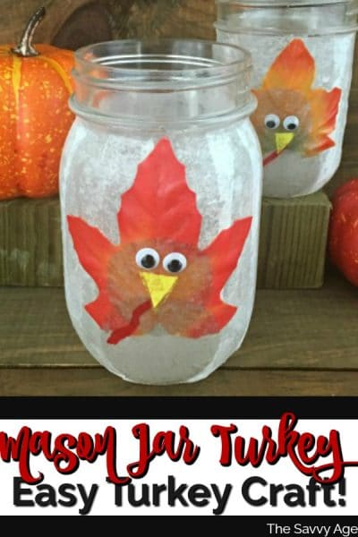 Mason Jar decorated with turkey on front of jar.