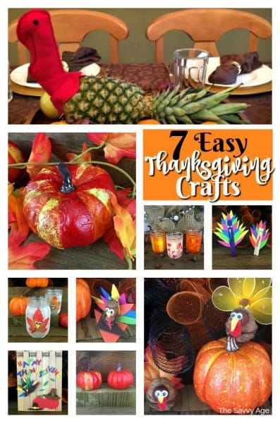 Collage of homemade Thanksgiving crafts: paper pumpkins, turkeys, walnut shell turkey, acorn turkey, mason jar turkey