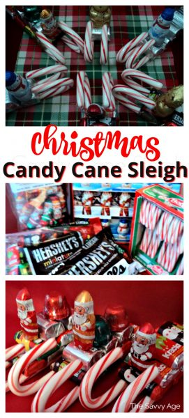 Collage of Christmas Candy Cane Sleigh with candy canes as sleighs and mini chocolates as the sleigh body.