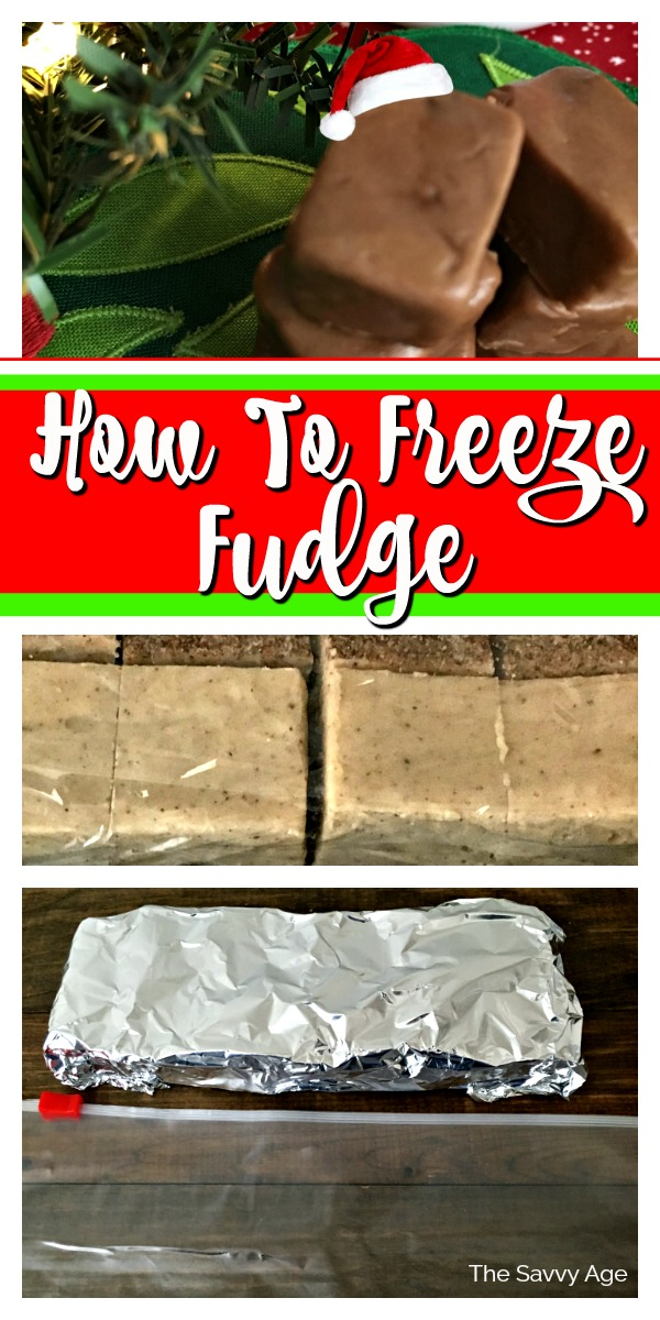 Collage of fudge squares, how to freeze fudge with saran wrap and aluminum foil.