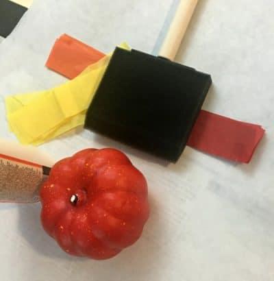 Foam brush, mini pumpkin, tissue paper, modge podge