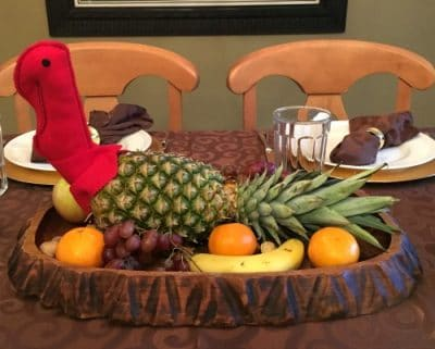 pineapple turkey centerpiece with red fleece turkey head and pinepple body