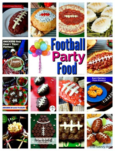 Colllage of football shaped food for football parties.