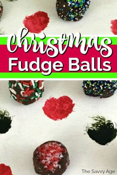 Decorated fudge balls on a polka dot green white background.