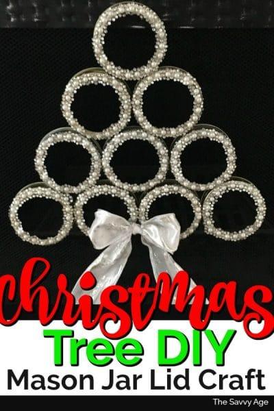 Mason Jar lid christmas tree with pearl jewels.