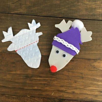 Two DIY reindeer Christmas ornaments.