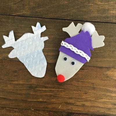 Reindeer ornament and reindeer cutout from bubble envelope.