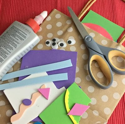 Materials for gift bag: colorful foam paper, scissors, glue, brown gift bag