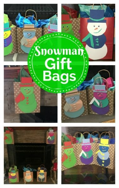 Collage of snowman gift bags.