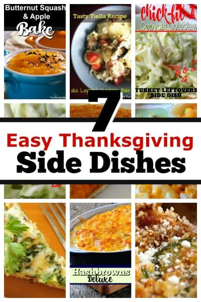 Collage of Thanksgiving side dishes.