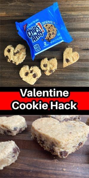 Collage of heart shaped chocolate chip cookies.
